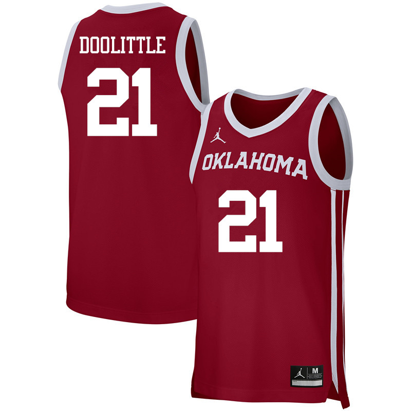 Men Jordan Brand #21 Kristian Doolittle Oklahoma Sooners Basketball Jerseys-Crimson