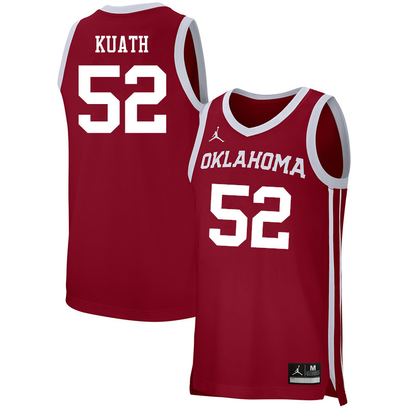 Men Jordan Brand #52 Kur Kuath Oklahoma Sooners Basketball Jerseys-Crimson