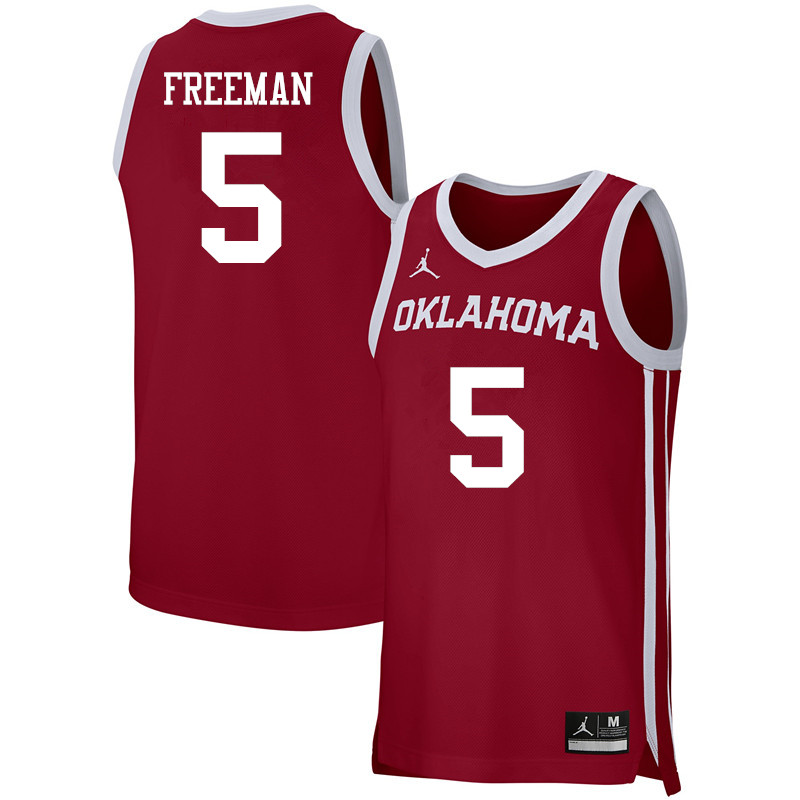 Men Jordan Brand #5 Matt Freeman Oklahoma Sooners Basketball Jerseys-Crimson