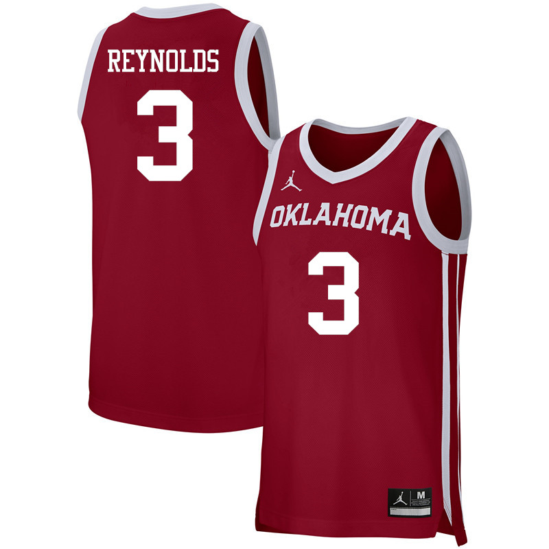Men Jordan Brand #3 Miles Reynolds Oklahoma Sooners Basketball Jerseys-Crimson