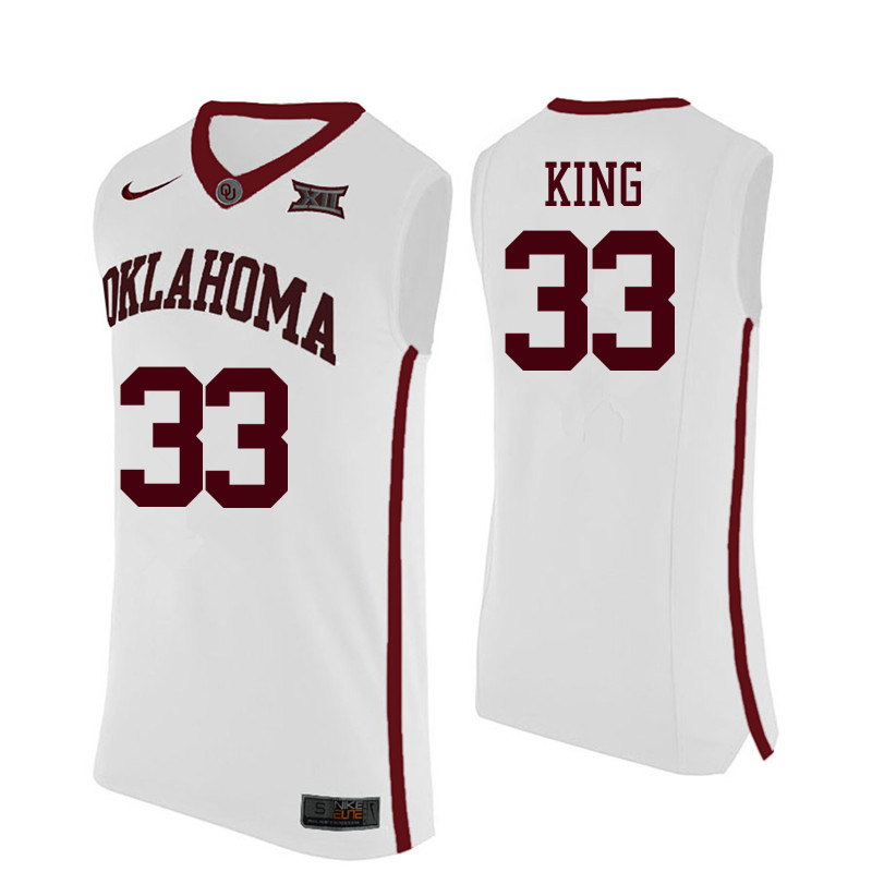 Men Oklahoma Sooners #33 Stacey King College Basketball Jerseys-White