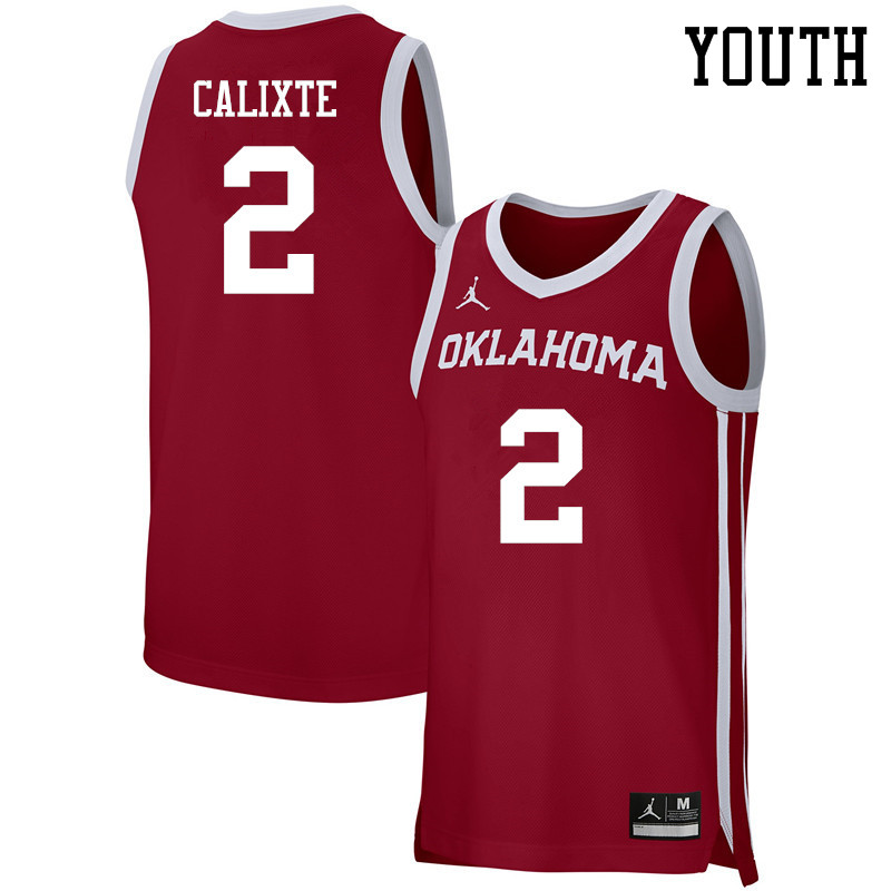 Youth Jordan Brand #2 Aaron Calixte Oklahoma Sooners Basketball Jerseys-Crimson