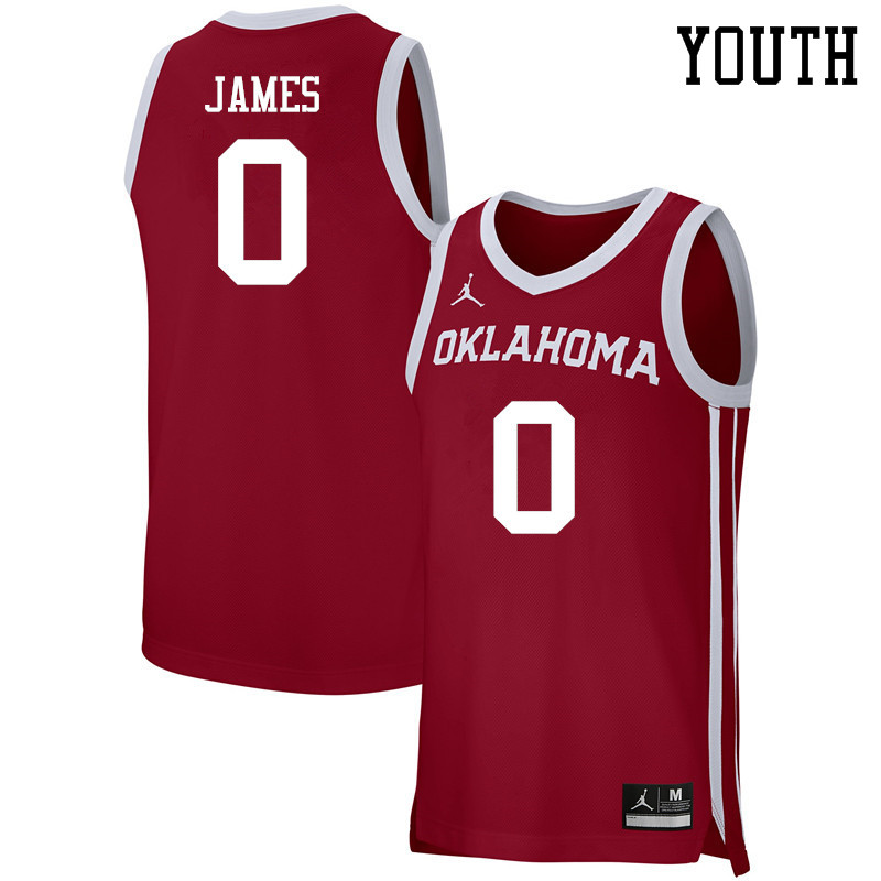 Youth Jordan Brand #0 Christian James Oklahoma Sooners Basketball Jerseys-Crimson