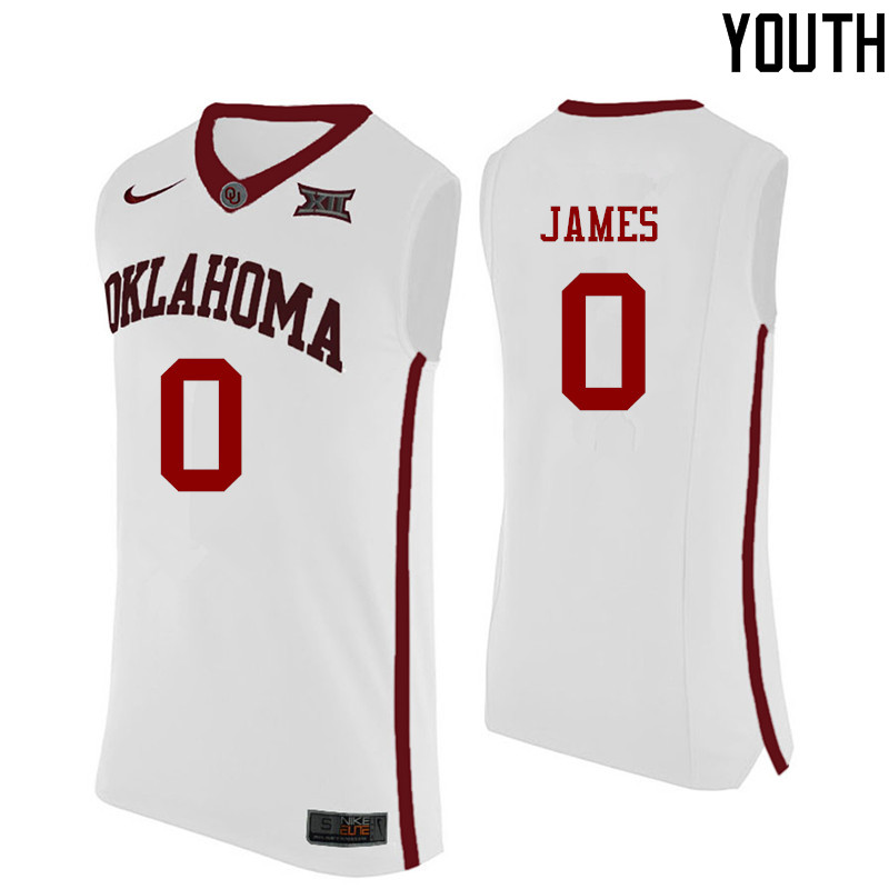 Youth Oklahoma Sooners #0 Christian James College Basketball Jerseys-White