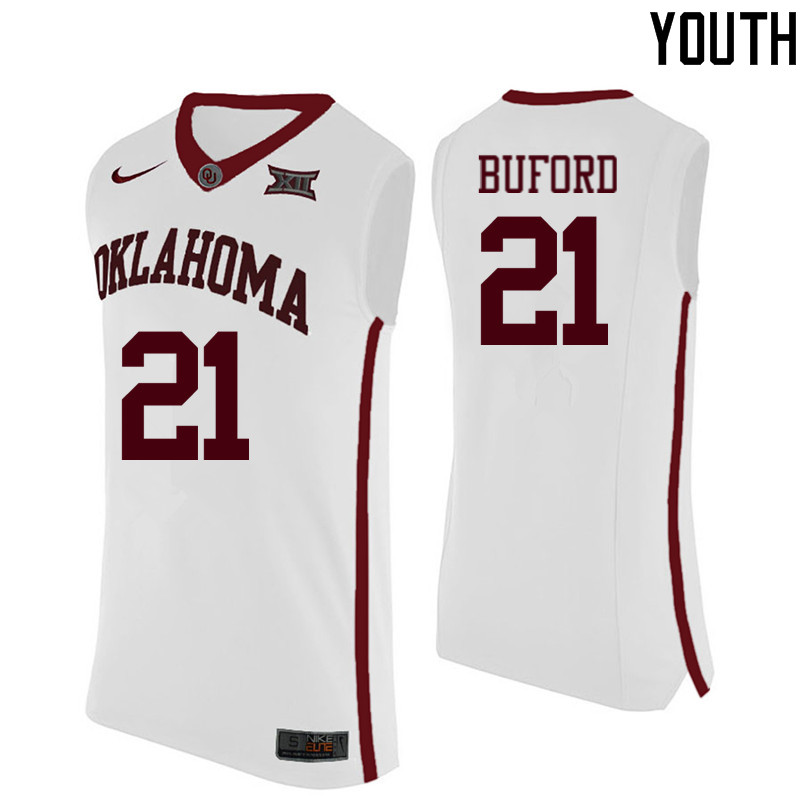 Youth Oklahoma Sooners #21 Dante Buford College Basketball Jerseys-White