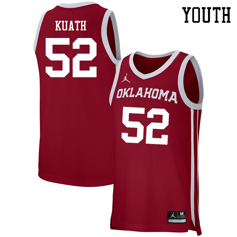 Youth Jordan Brand #52 Kur Kuath Oklahoma Sooners Basketball Jerseys-Crimson