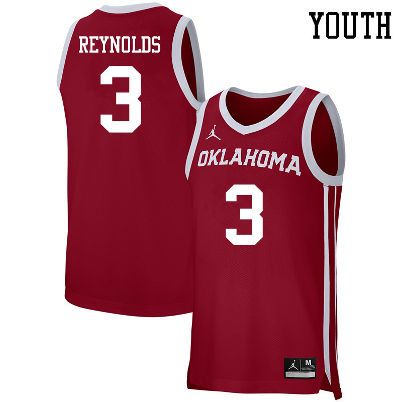 Youth Jordan Brand #3 Miles Reynolds Oklahoma Sooners Basketball Jerseys-Crimson