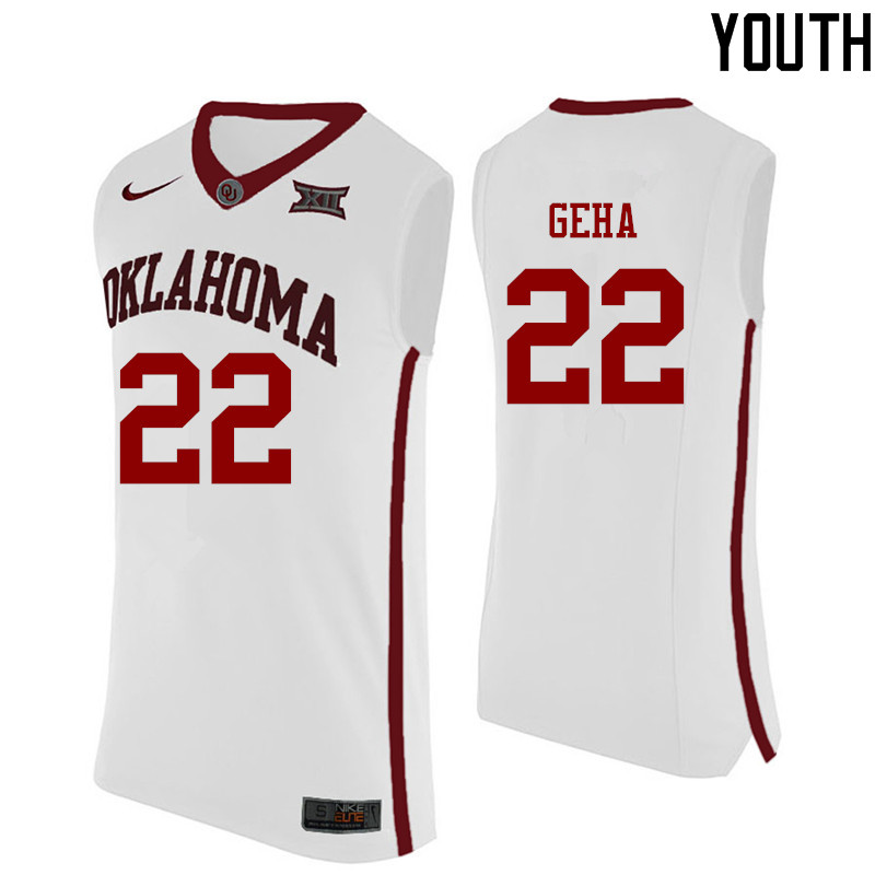 Youth Oklahoma Sooners #22 Patrick Geha College Basketball Jerseys-White