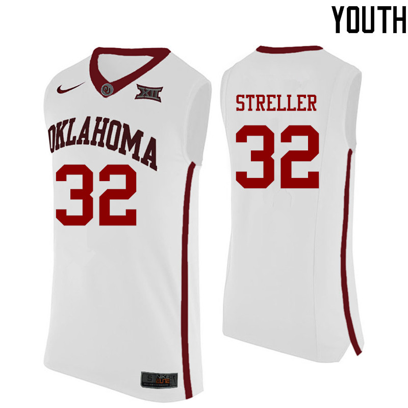 Youth Oklahoma Sooners #32 Read Streller College Basketball Jerseys-White